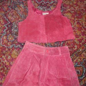 Vintage Hot Pink Suede 2-pc Set